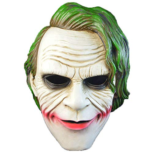 LJSHU Halloween Batman Clown Maske Horror Maske Dark Night Ritter Harz Grüne Haare COS Maske