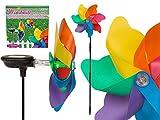 OOTB 137206 Bunte Windmühle mit Solarzelle auf Kunststoffstab, Mehrfarbig, 20 x 5 x 20,5 cm