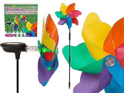 OOTB 137206 Moulin à Vent coloré avec Cellule Solaire sur Tige en Plastique Multicolore 20 x 5 x 20,5 cm