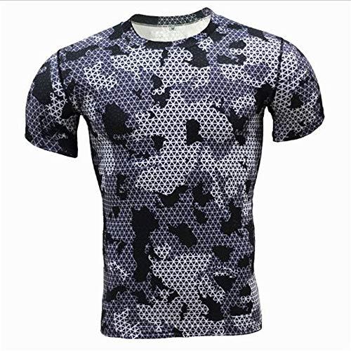 Männer Frühling Sommer Männer T-Shirts 3D Gedruckt Tier t-Shirt Kurzarm Lustige Design Casual Tops Tees Männlich,Tarnungs-Trainings-Fitness-T-Shirt Blau 3XL (Big City Ballons)