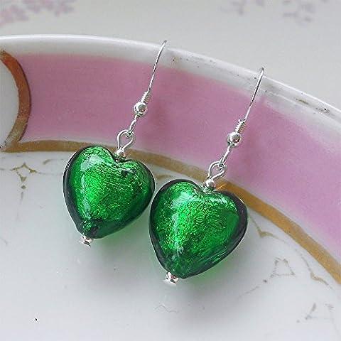 Diana Ingram dark green Murano glass small heart (13mm) earrings
