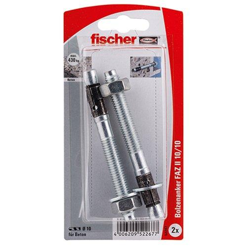 Fischer 52267 Lot de 2 Goujons d'ancrage FAZ II 10/10 K