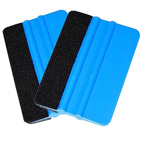 Preisvergleich Produktbild Woboren Qualität Filzkante Andrückrakel 4.96 Zoll für Auto-Vinyl Scraper Aufkleber Applikator Werkzeug mit schwarzem Stoff Filzkante - Blau PP Scraper (2 Stück)