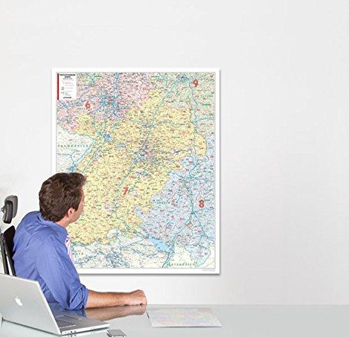 Postleitzahlenkarte Baden-Württemberg, 1:250 000, folienbeschichtet