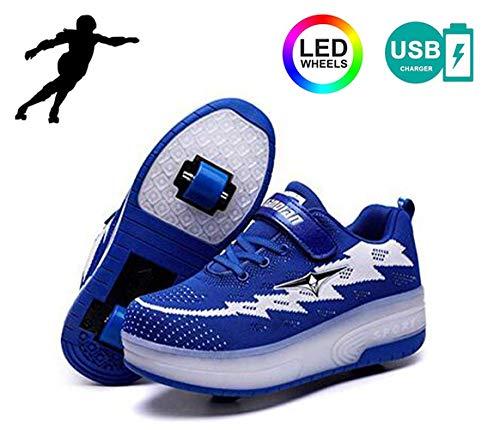 YURU Heelies Zapatos De Rodillos LED para Niños Carga USB única LED...