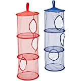 Orangetag Hanging Mesh Space Saver Bags Organizer 3 Compartments Toy Storage Basket For Kids Room Organization 2 Pcs Set , Random Colors