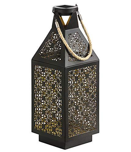 Dehner Solarlaterne Tuan, ca. 40 x 14 x 14 cm, Metall, schwarz/gold