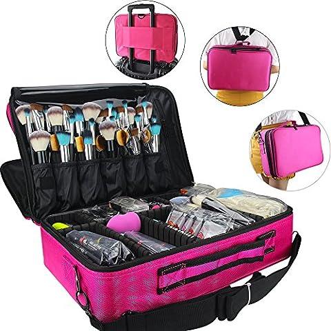 Travelmall Profi-Kosmetikkoffer für die Reise, dreischichtig, 41,9 x 31 x 14 cm, Schultergurt verstellbar, für Make-up-Pinsel, Styling-Tools, Maniküre-Zubehör usw., passt auf Rollkoffer rot (Professionelle Styling Bürste)