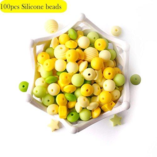 baby tete 100pcs Perles de Dentition en Silicone Qualité Alimentaire Accessoires de Soins Infirmiers Série Jaune Collier/Bricolage Jouets de Dentition de Bébé de Chaîne de Sucette