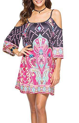 42486b047025 Vestiti Etnici Donna Estivi Bohemian Hippy Chic Abito Senza Spalline Spiaggia  Vestito Africano Indiano Mini Abiti