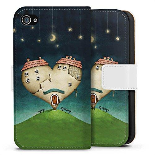 Apple iPhone X Silikon Hülle Case Schutzhülle Liebe Herz Haus Sideflip Tasche weiß