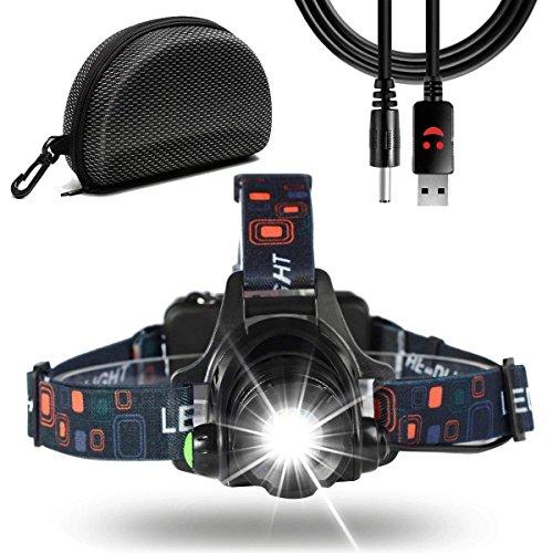 Stirnlampe,Waterproof USB wiederaufladbar Zoombare 6000 Lumen Led Stirnlampe/Kopflampe, 90 Grad Winkel Verstellbare Stirnlampen für Laufen, Radfahren, Wandern, Camping, Angeln, Tischarbeit, buch lesen (Black)