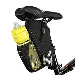 Intsun saco da bicicleta, xnumxl mountain road bicicleta ciclismo poliéster saco de assento com bolso da garrafa de água, assento de bicicleta de volta para a bicicleta suprimentos de ciclismo