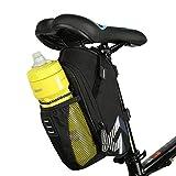 Intsun Bolso de bici,1.6L Montaña Camino Bicicleta Ciclismo Poliéster Bolsa de sillín con bolsillo para botella de agua, Bicicleta Asiento trasero para Montar Ciclismo Suministros