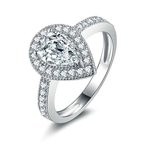 Daesar Silberring Damen Ring Silber Ehering für Damen Benutzerdefinierte Ring Groß Träne Strass Ring Größe:49 (Halo Kostüme Benutzerdefinierte)
