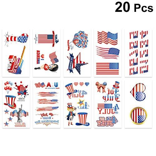 Amosfun 20 Stück Tattoo Aufkleber amerikanischen Unabhängigkeitstag umweltfreundliche Tattoo Body Aufkleber patriotische amerikanische Flagge Gesicht Körper Dekore 4. Juli Foto Requisiten