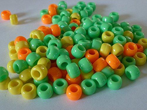100x Pony Perlen 9mm x 6mm Bright Orange, Grün & Gelb-Armbänder Flechten Clips Haar Farbe Acryl Kunststoff, fassförmig, rund-Perlen und Charms -