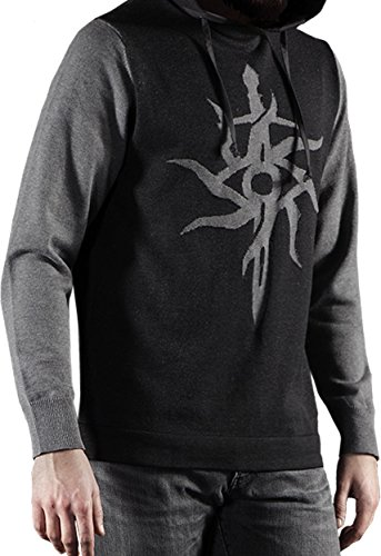 Musterbrand-Dragon-Age-Kapuzen-Pullover-Herren-The-Inquisitor-Strick-Sweatshirt-Grau