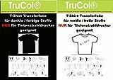 Klar/Weiße T-Shirt Transferfolie für helle/weiße/farbige/dunkle/Schwarze Baumwoll - Stoffe für Tintenstrahldrucker (Inkjet) oder Laserdrucker + Kopierer