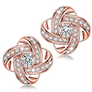 Alex Perry Women Pierced Stud Earrings Satellite Collection Rose Gold Plated Cubic Zirconia Christmas Gifts Jewellery for Birthday Anniversary Valentine's Day Mother Wife Daughter Girl Her