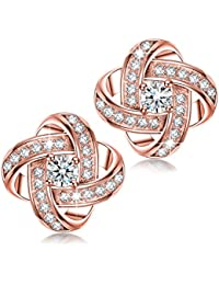 Alex Perry Satellite Series 925 Sterling Silver 5A Cubic Zirconia Women Piecered Stud Earrings, Gold Plated, Christmas Gifts, Allergen-free Passed SGS Inspection