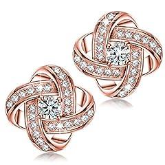 Idea Regalo - Alex Perry regalo di natale per donna orecchini di zirconi cubici oro rosa argento 925 regali san valentino per lei gioielli donna regali natale compleanno per le donne ragazze amica mamma lei