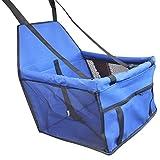 Sentaoa Autositz und Tragetasche für Hunde und Katzen Hundetasche Faltbarer Reise Träger Hundebox Atmungsaktive Mesh Auto Matte (Blau,40 * 30 * 25 cm)
