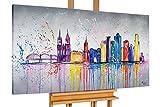 KunstLoft® Acryl Gemälde 'Colonia variopinta' 140x70cm | original handgemalte Leinwand Bilder XXL | Köln Stadt Bunt Skyline | Wandbild Acrylbild moderne Kunst einteilig mit Rahmen