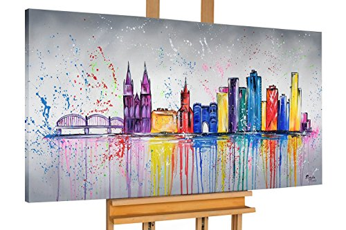 KunstLoft® Acryl Gemälde 'Colonia variopinta' 140x70cm | original handgemalte Leinwand Bilder XXL | Köln Stadt Skyline Bunt | Wandbild Acrylbild Moderne Kunst einteilig mit Rahmen -