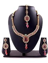 Variation MultiColor Gold Plated Kundan Jewellery Diamond Necklace Set-VD10273
