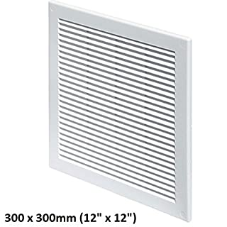 Air Vent Grille Cover 300x300mm 12x12 inch, White with Insect Grid Fly Net