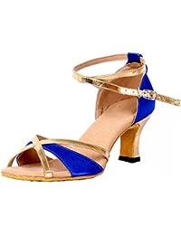 Damens Schleife Knöchelriemen Latein Tanzschuhe Gold 38 EU Honeystore UDsfRo