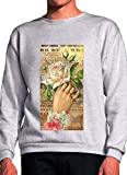 Hand with Flowers Romantic Painting Grey Unisex Sweatshirt - Large