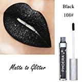 POachers Glitter Liquid Lipstick PHOERA Opaco per impermeabilizzare Lip Gloss Makeup (H)