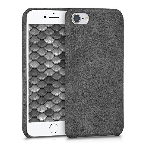 Kwmobile cover per apple iphone 7/8 - custodia morbida in simil pelle per cellulare - back cover soft case protettiva design ecopelle grigio scuro