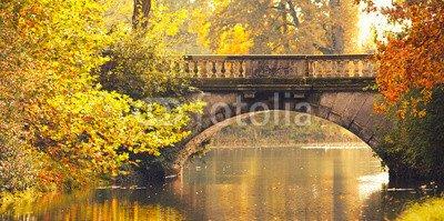 "Alu-Dibond-Bild 160 x 80 cm: ""steinerne Brücke im Herbst"", Bild auf Alu-Dibond"