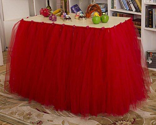 Röcke Tüll Schneeflocke Wunderland Tutu Tisch Tischdecke für Mädchen Partytisch Abdeckungen , red ()