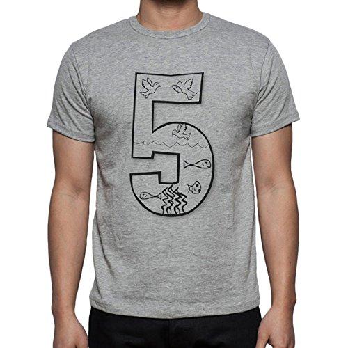 Number Math Symbol Calculus Equations White Fuve Herren T-Shirt Grau