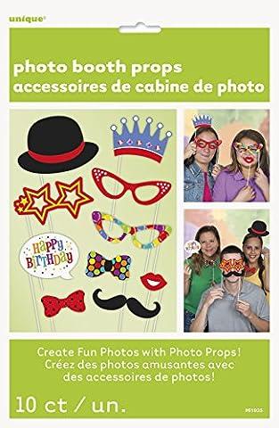 Unique Party - 61935 - Paquet de 10 Accessoires - Confettis d'Anniversaire pour Photomaton