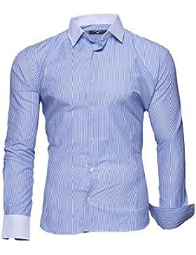 Kayhan Camicie Uomo Slim Fit Maniche Lunghe di ferro se necesario -Modello Gestreift