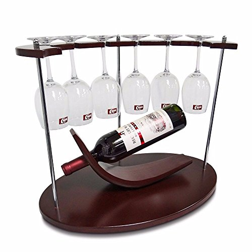 GQFGYYL am besten kleine Wein - Rack mit Glas, Inhaber von einzigartigen/arbeitsplatte stehenlassen/Free Standing/Holz -, 1 Flasche & 6 gläser stemware Organizer für küchenmöbel. -