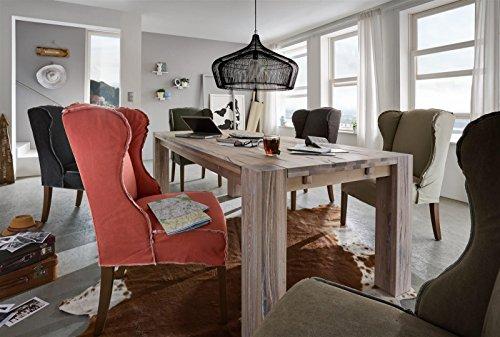 Sit Möbel Sit&Chairs Ohrensessel, 2er-Set Bezug Baumwolle L = 65 x B = 74 x H = 105 cm Bezug Jeansstoff Stone Washed rot, Nähte weiß, Beine grau