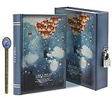 LY, Like a dream, diario segreto, modello: chiaro di luna, taccuino per appunti e disegni, con lucchetto, 288 pagine, con custodia, formato A6 Misura unica Blue, Dream Ballon