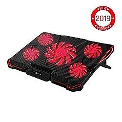 KLIMTM Cyclone Laptop Kühler - Maximale Kühlung - 5 Lüfter - Cooling Pad für Computer - Gamer Gaming Rot [ Neue 2019 Version ]