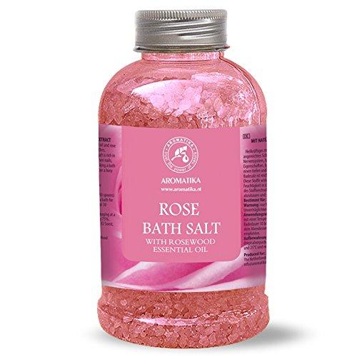 Rose Bain de Sel - Sel de Mer 100% Huile Essentielle de Palissandre Naturel - Sel de Bain Naturel Roses pour Bien Dormir - Soulagement du Stress - Beauté - Baignade - Soins du Corps - Bien-Être - Beauté - Relaxation - Aromathérapie - Spa - Bain - de Aromatika