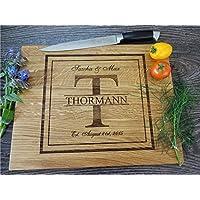 Personalisiertes Schneidebrett Handgefertigt mit Monogramm. Frühstücksbrettchen Hochzeit Geschenke für das Paar Brot Schneidebrett