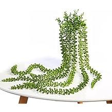 justoyou 2Pack plantas suculentas Artificial cadena de perlas para colgar plantas para exteriores boda jardín decoración del hogar, tela, String of Pearls Hanging Plants, 2