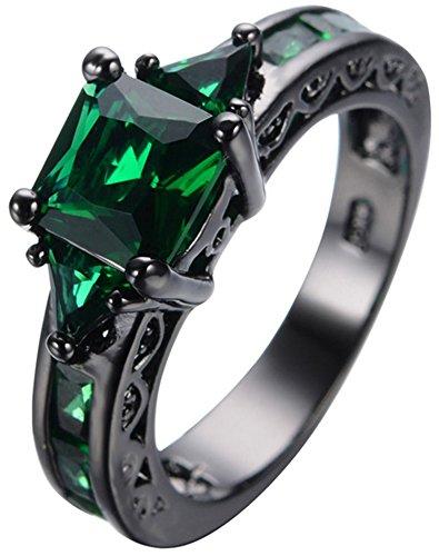 SaySure 10KT Black Gold Filled Emerald Anniversary Wedding & Engagement Ring (Rose Gold-emerald-cut-ringe)