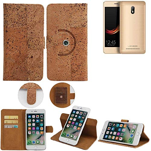 K-S-Trade Schutz Hülle für Leagoo Z6 Handyhülle Kork Handy Tasche Korkhülle Handytasche Wallet Case Walletcase Schutzhülle Flip Cover Smartphone