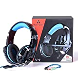HUNTERSPIDER Micro Casque Gaming PS4, Casque Audio Stéréo Gamer, Basse, Anti-Bruit,...